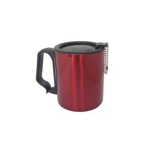 Red 10 oz SS Double Wall Plastic Handle Mug w/ Cap Keychain
